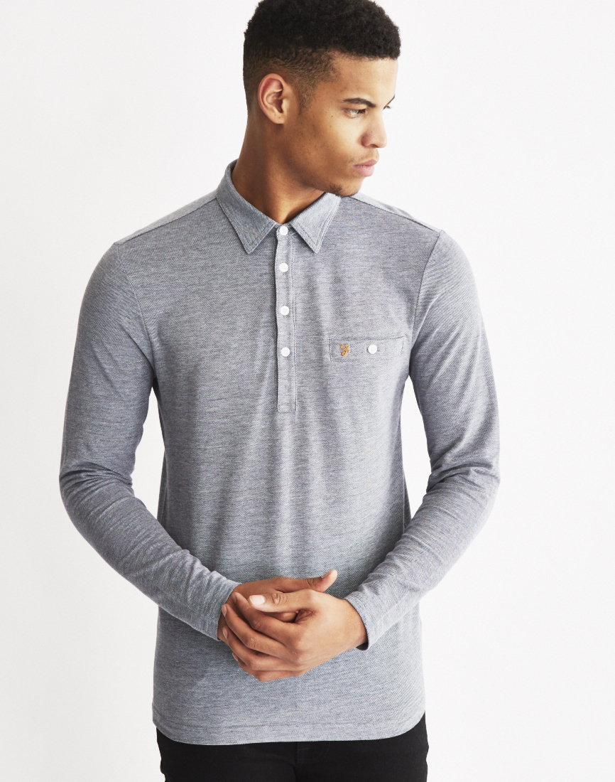 9617268e ... hot lyst farah tenysson long sleeve polo shirt grey in gray for men  d5046 3db81