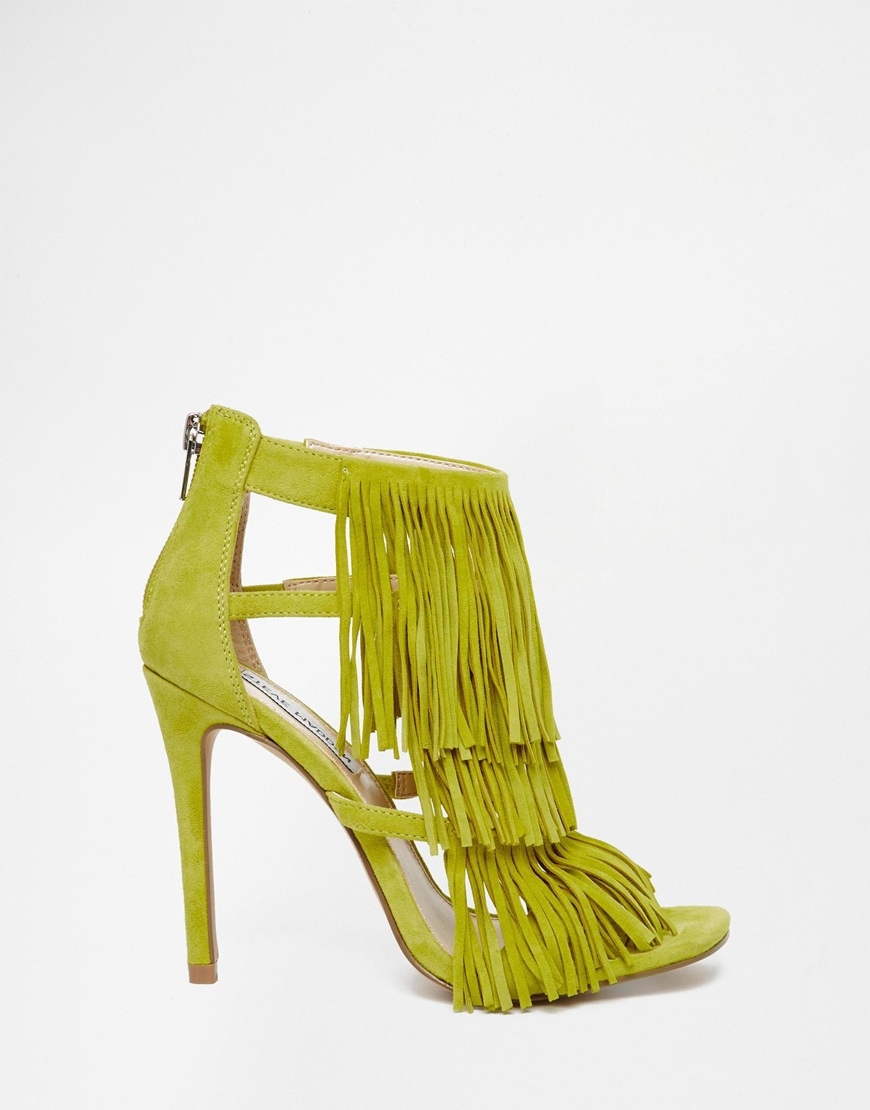 Lyst - Steve madden Fringly Yellow Suede Heeled Sandals in Green