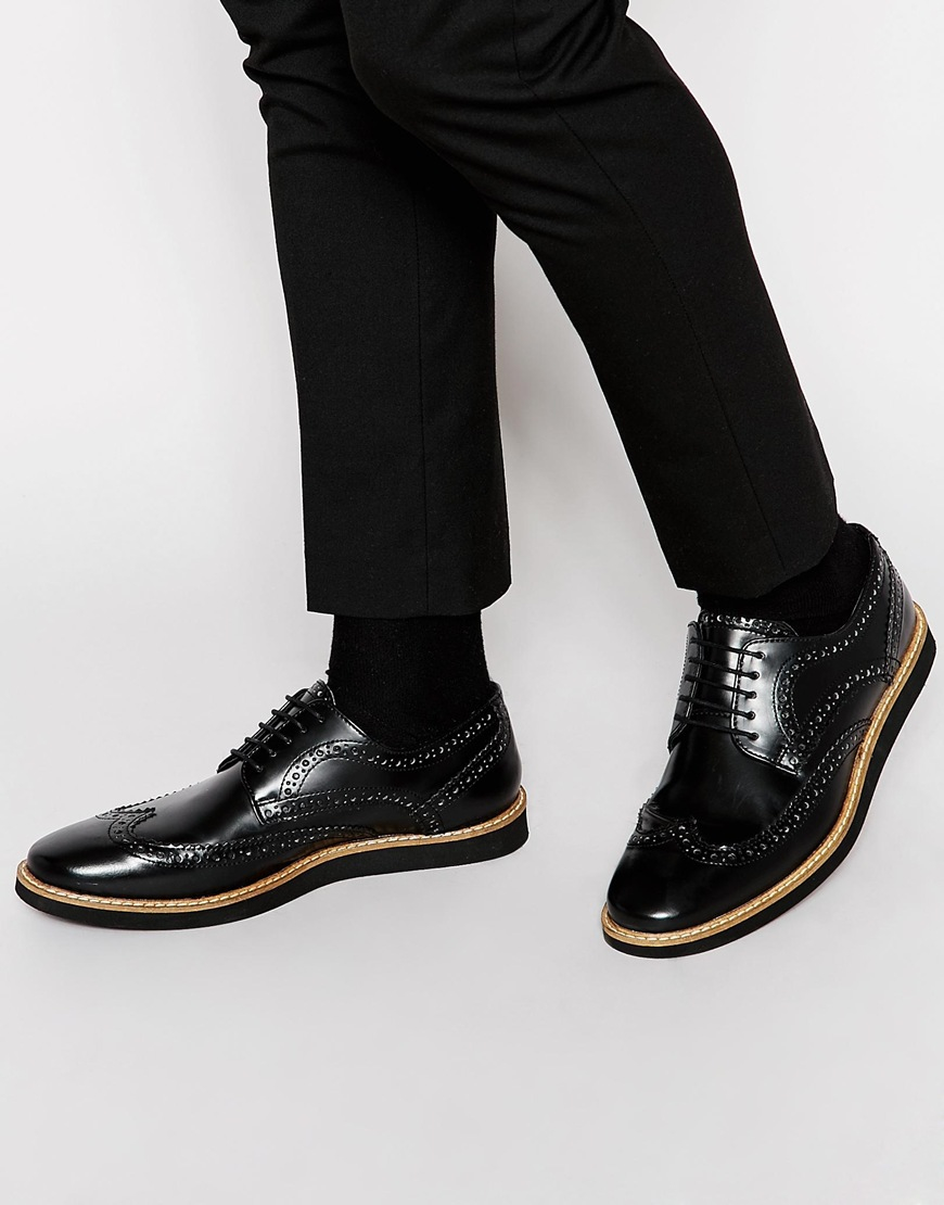 ASOS Brogue Shoes in Black outlet websites outlet huge surprise jetX00WRTn