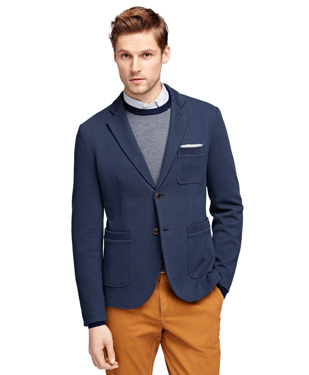 Lyst Brooks Brothers Knit Blazer In Blue For Men