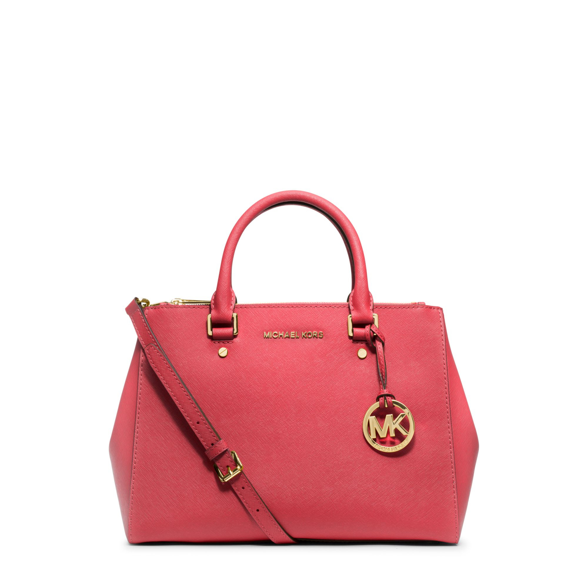 michael kors sutton medium saffiano leather satchel in red. Black Bedroom Furniture Sets. Home Design Ideas
