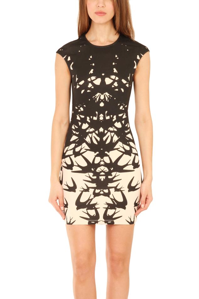 Lyst Mcq Birds Print Cap Sleeve Dress In Black
