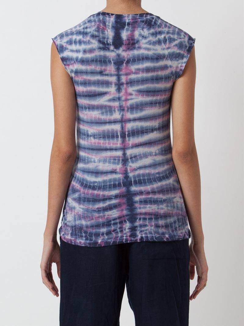 Lyst raquel allegra tie dye sleeveless t shirt in blue for Tie dye sleeveless shirts