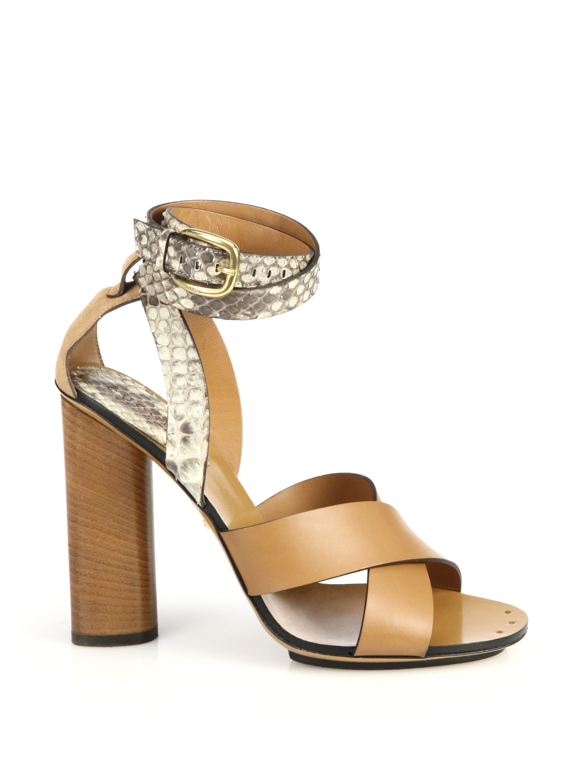 1b7a99f4dac Lyst - Gucci Python   Leather Stacked-heel Sandals in Brown