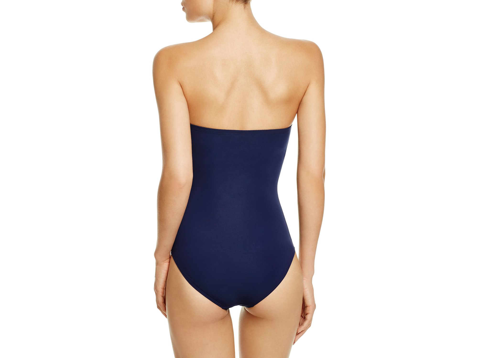 ff20e03b52aa8 Tory Burch Color Block Bandeau Underwire One Piece Swimsuit in Blue ...