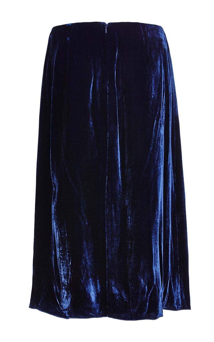 ricci midnight blue crinkled velvet skirt in black lyst