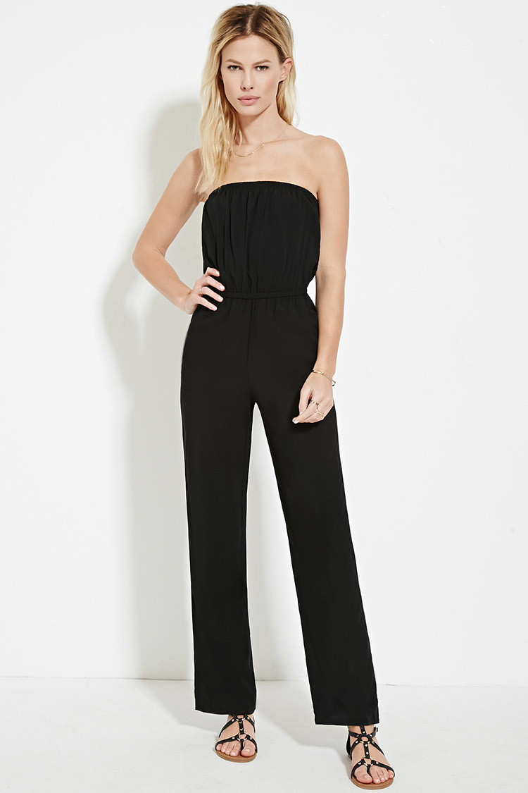 19bfe8d6ca9 Lyst - Forever 21 Strapless Jumpsuit in Black
