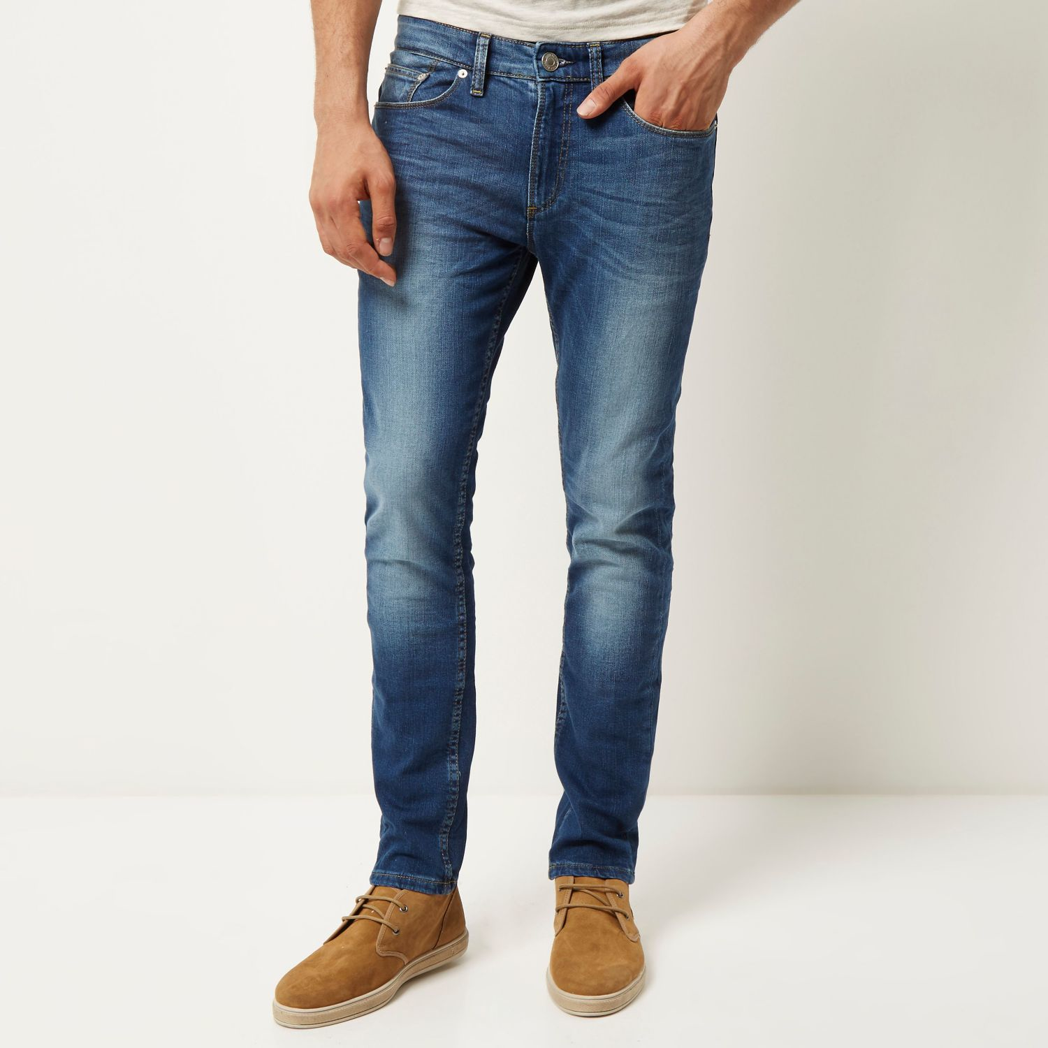River island Mid Wash Sid Skinny Stretch Jeans in Blue for Men | Lyst