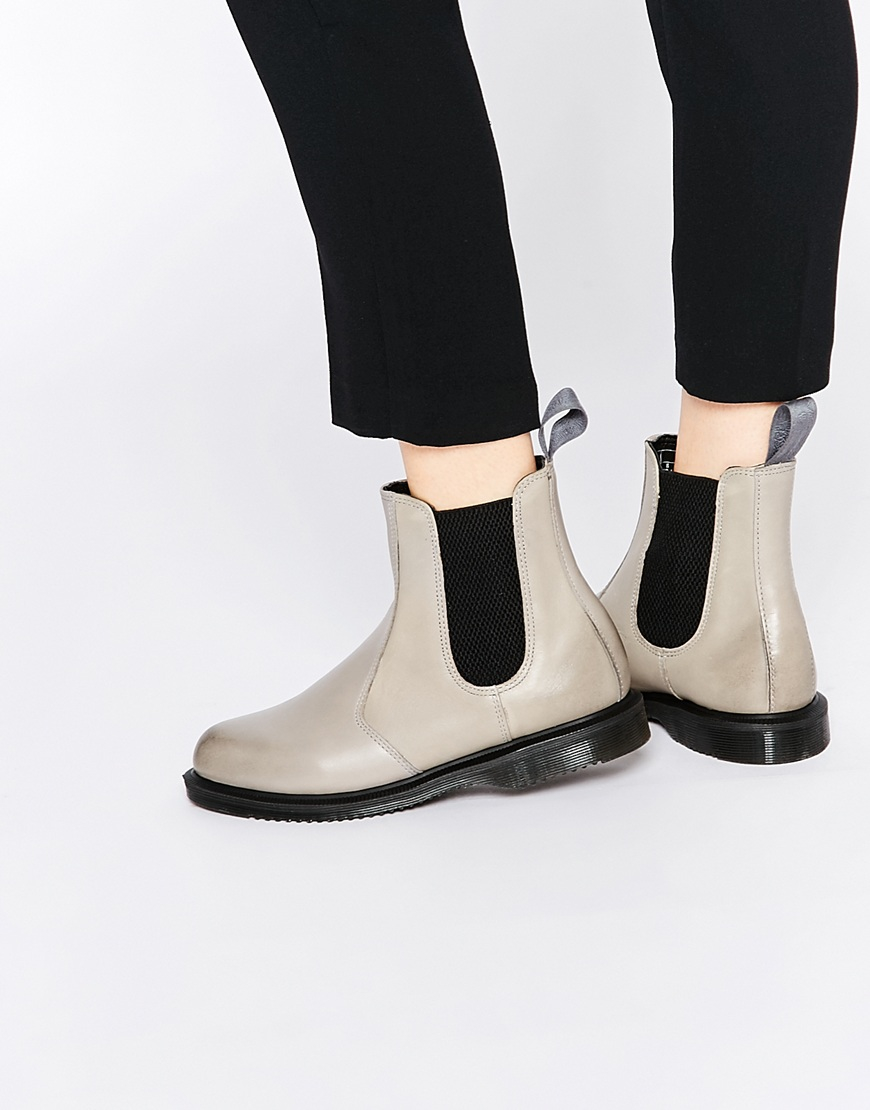 dr martens flora grey chelsea boots in gray lyst. Black Bedroom Furniture Sets. Home Design Ideas