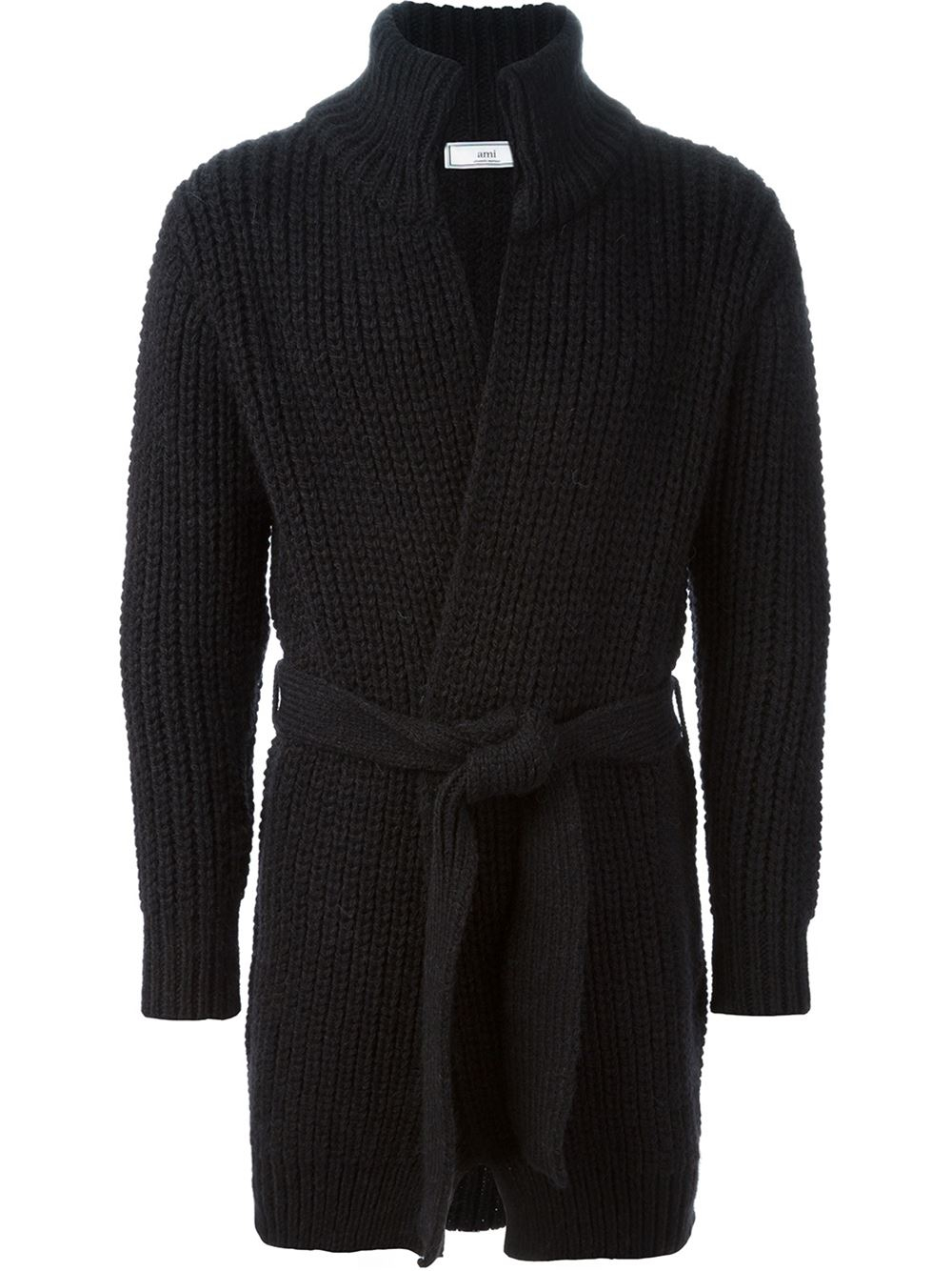Ami Long Belted Cardigan in Black for Men | Lyst