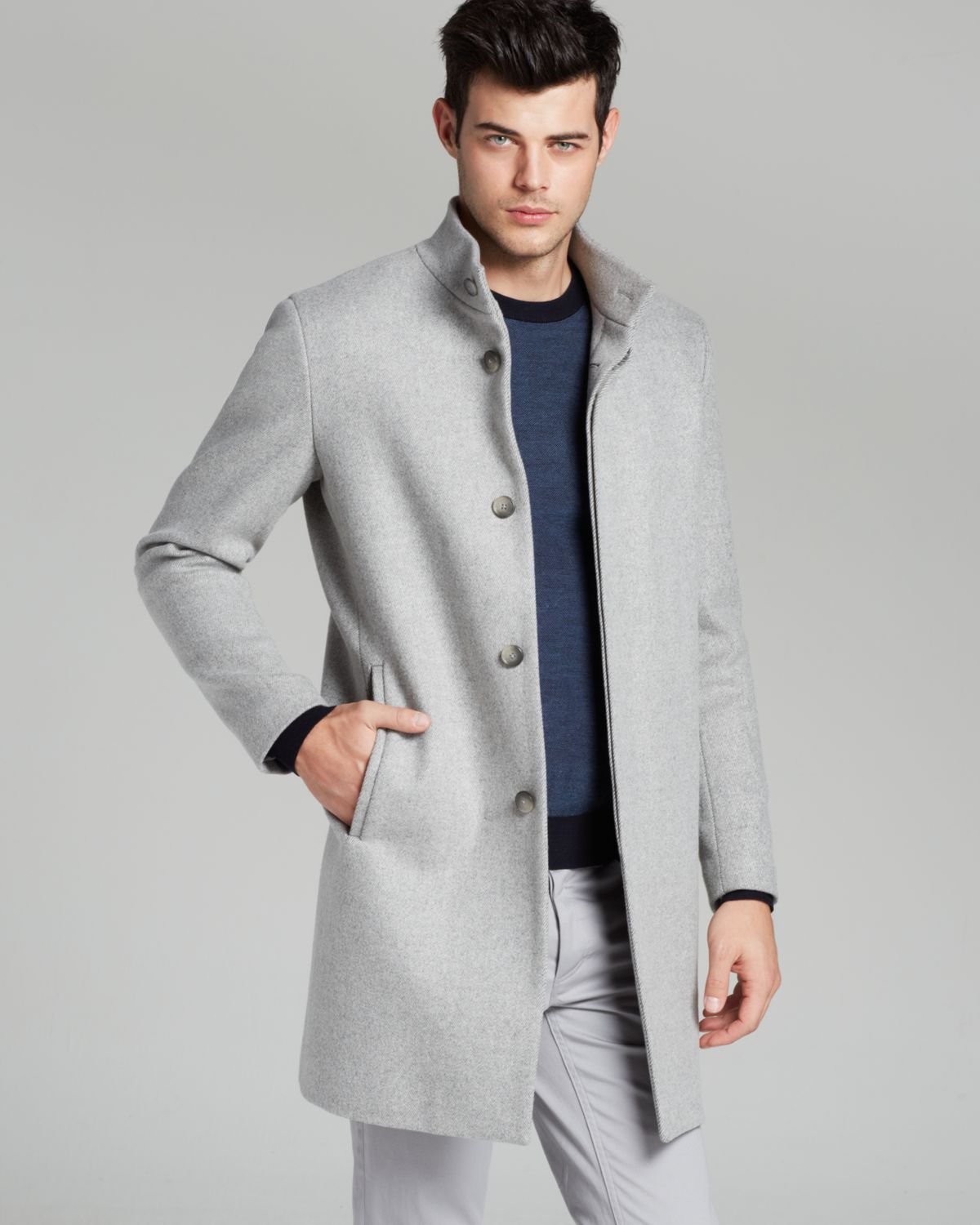 Theory Whinfell Belvin Coat in Gray for Men | Lyst