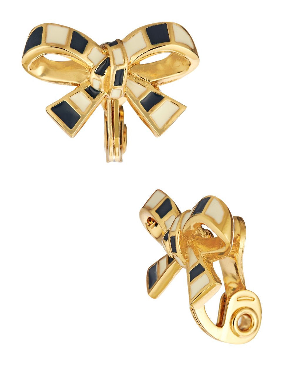 kate spade striped bow clip on earrings in blue navy lyst