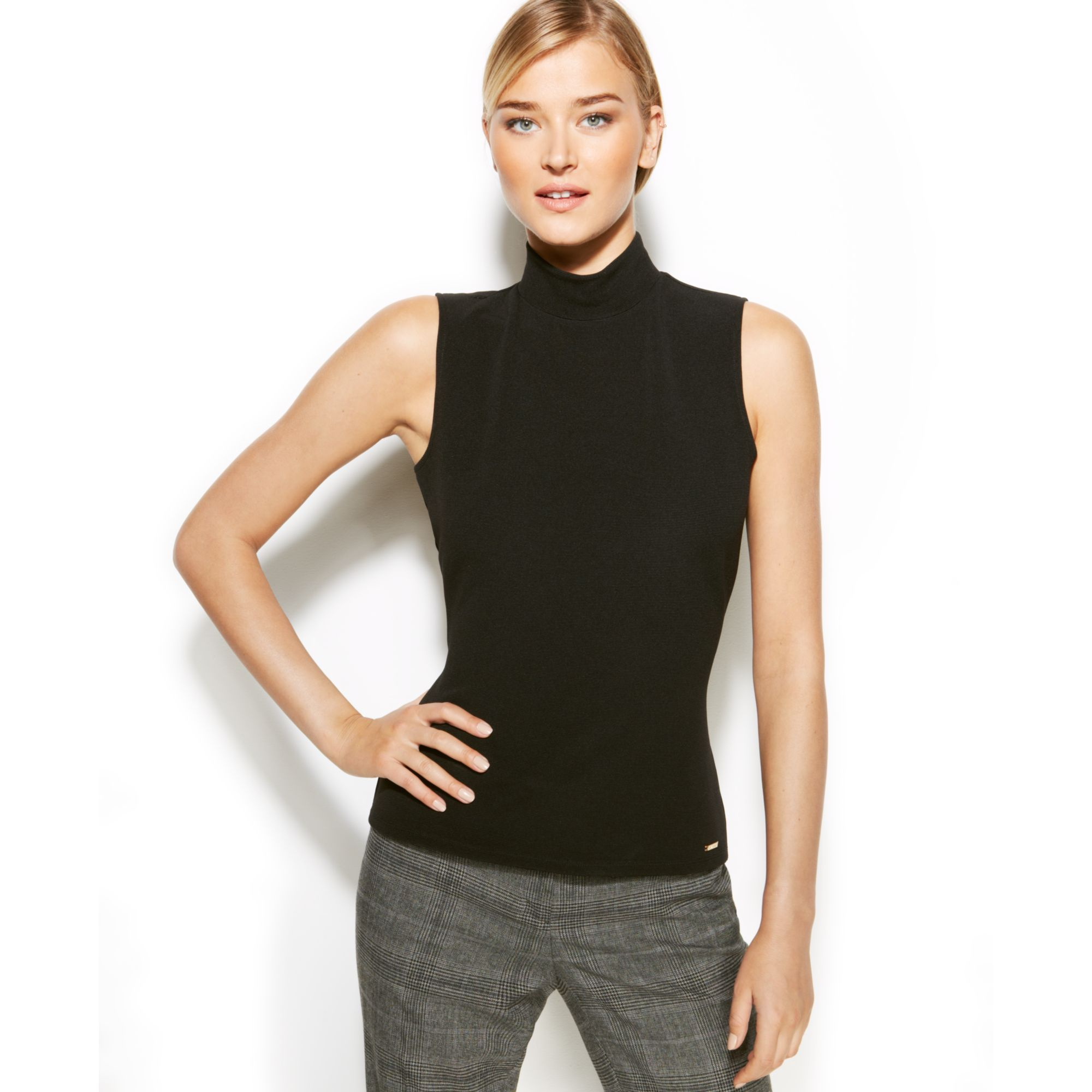 57f4a09bd3ad4 Lyst - Calvin Klein Sleeveless Ribbed Mock Turtleneck in Black