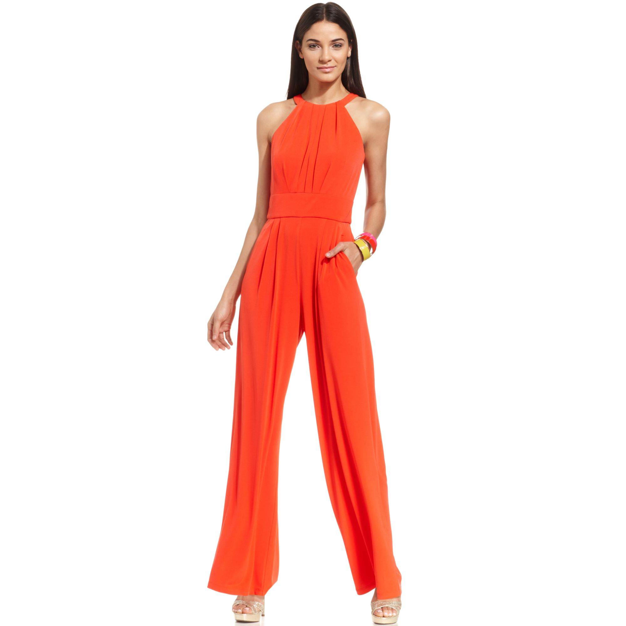 5989cf18e1 Lyst - Vince Camuto Sleeveless Keyhole Wideleg Jumpsuit in Orange
