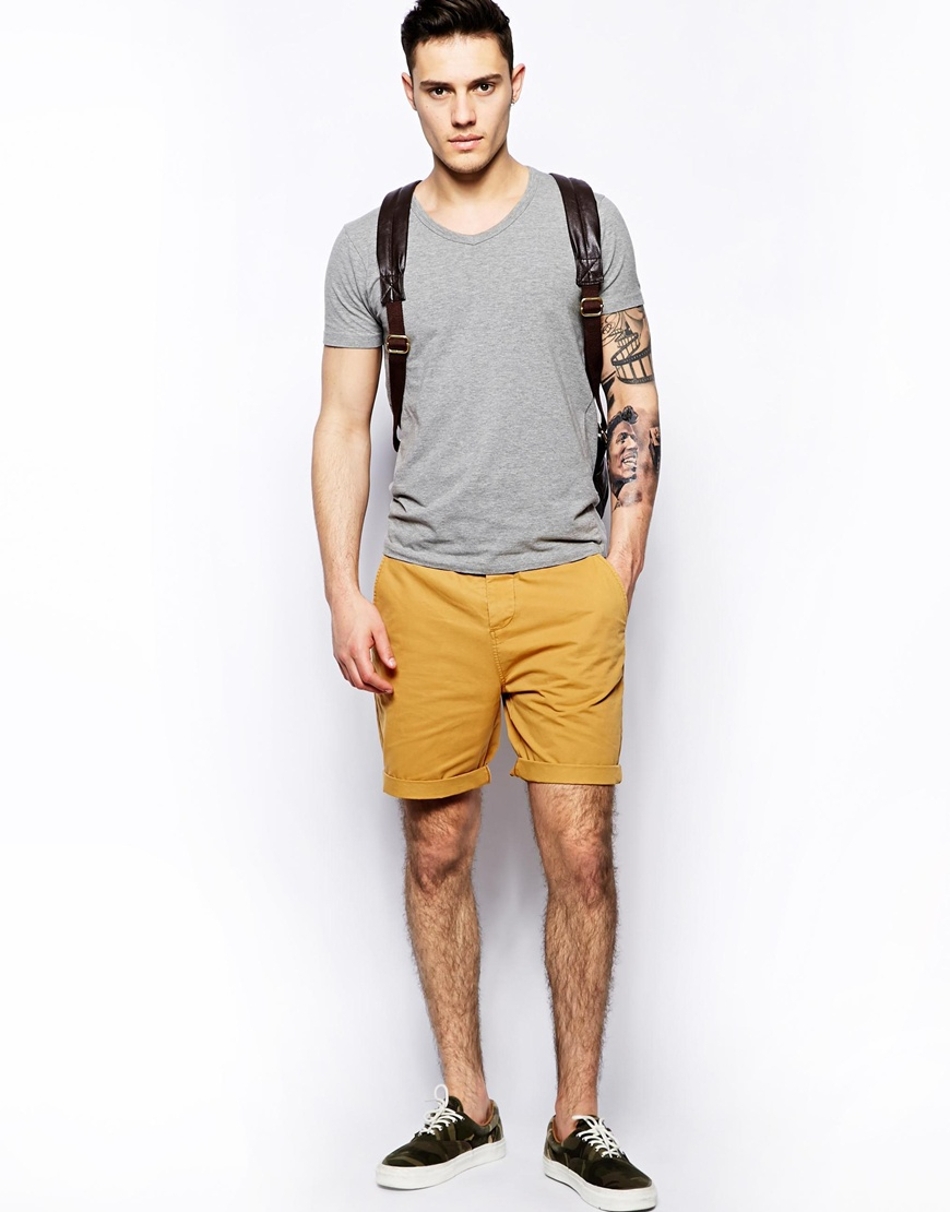 Asos Chino Shorts In Mid Length in Yellow for Men | Lyst