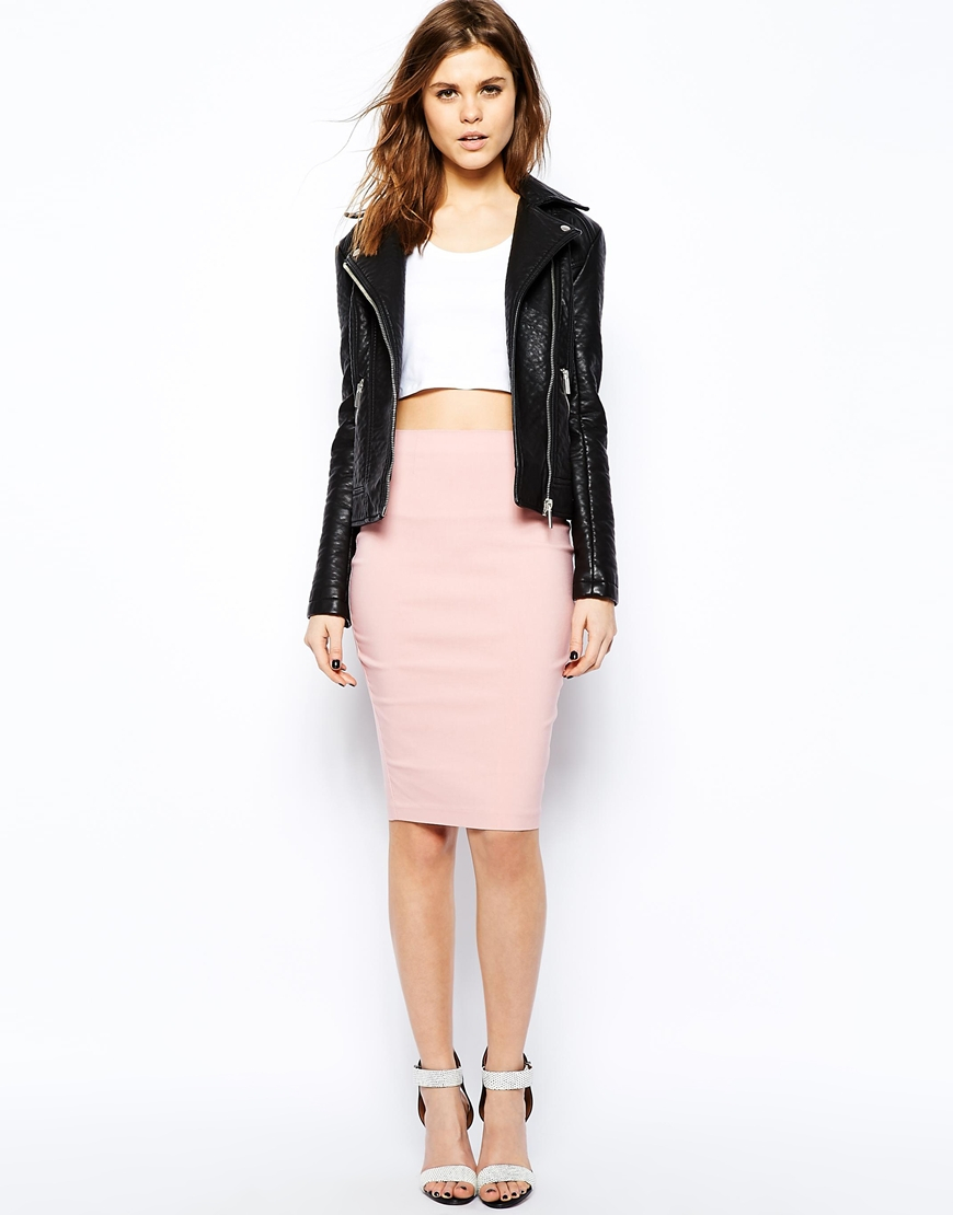 lyst asos high waisted pencil skirt in pink