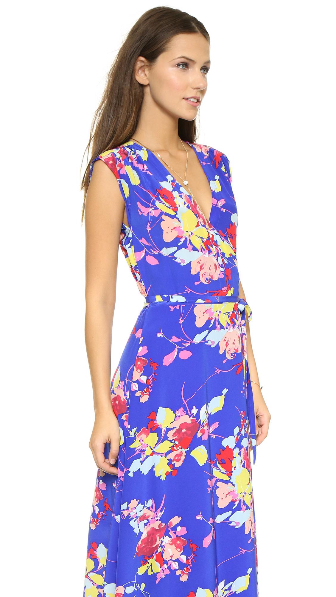 Yumi Kim Long Wrap Dress Dodger Blue Blossom In Blue Lyst