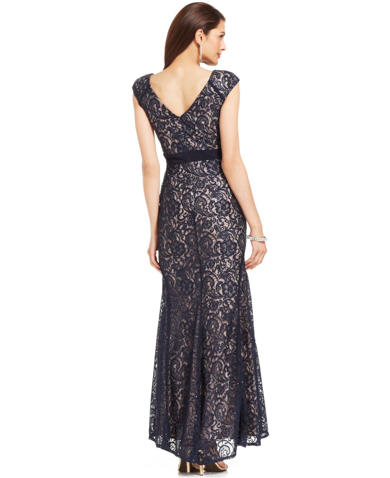 Xscape Sleeveless Glitter Lace Mermaid Gown