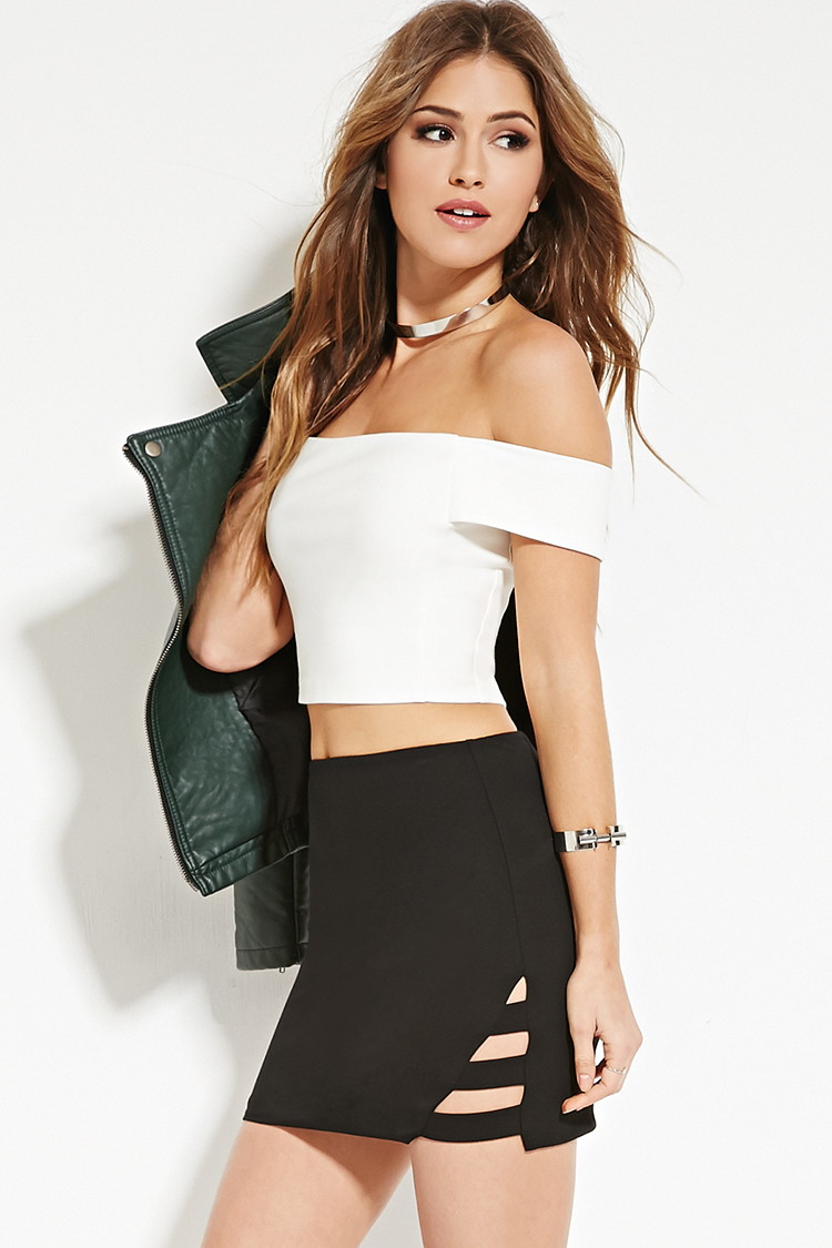 fded666c7fb1a Lyst - Forever 21 Strappy Cutout Mini Skirt in Black