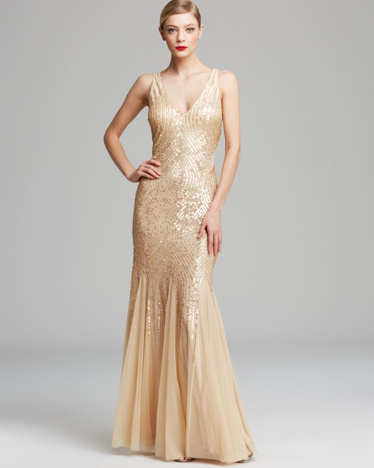 aa4464a00e Lyst - Adrianna Papell Gown Sleeveless V Neck Beaded with Illusion ...