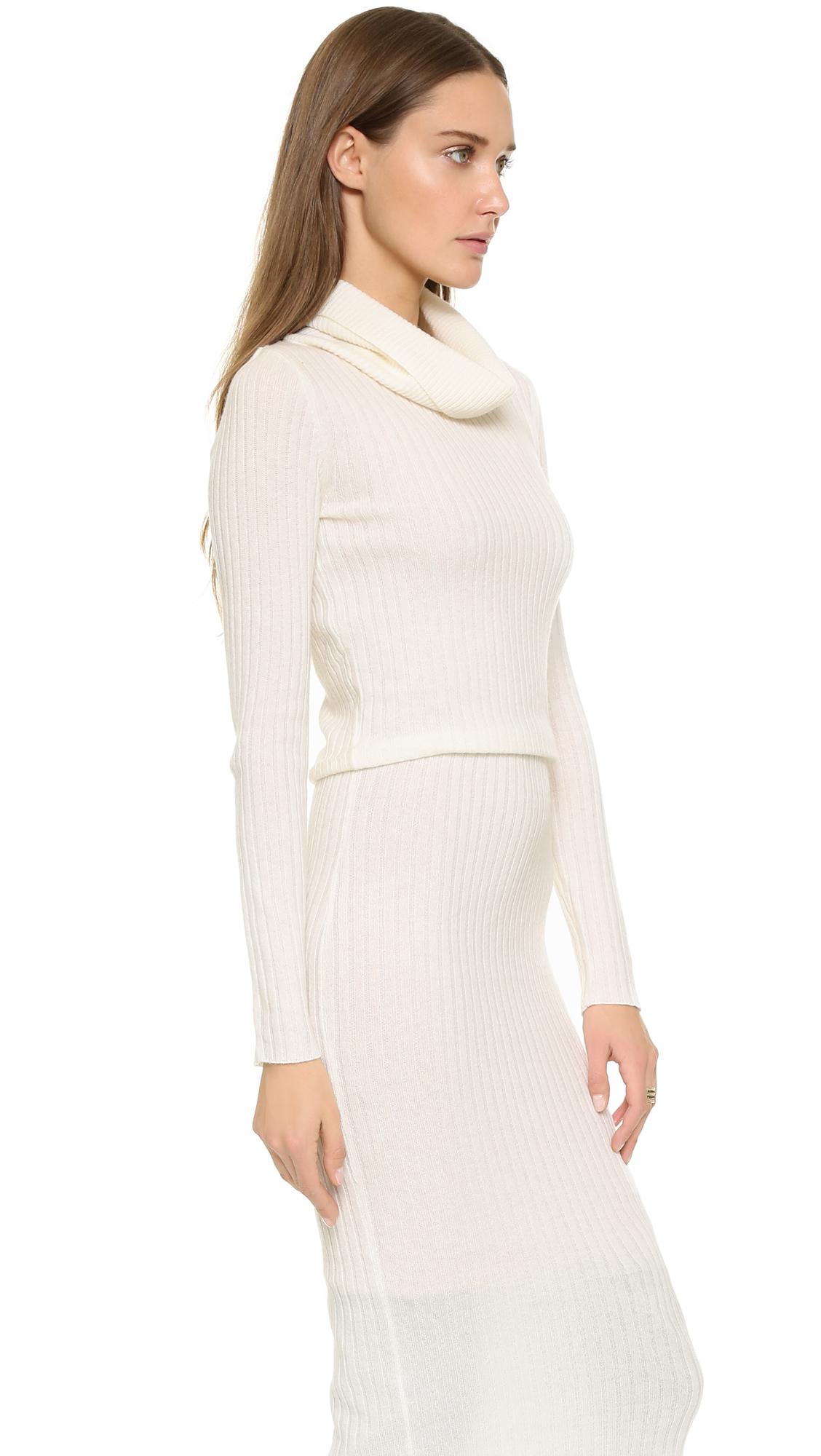Lyst Alice Olivia Hailee Turtleneck Sweater Dress Cream In Natural