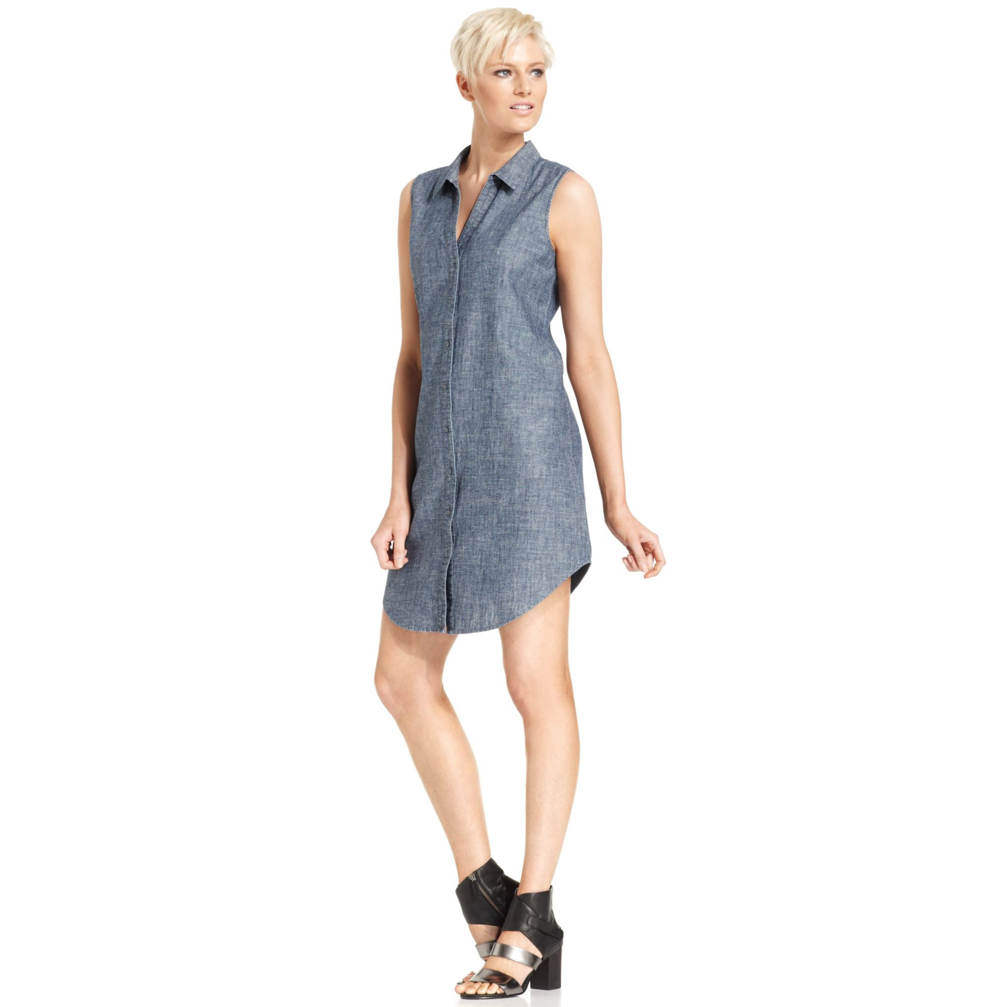 Eileen fisher sleeveless button front chambray dress in for Chambray dress
