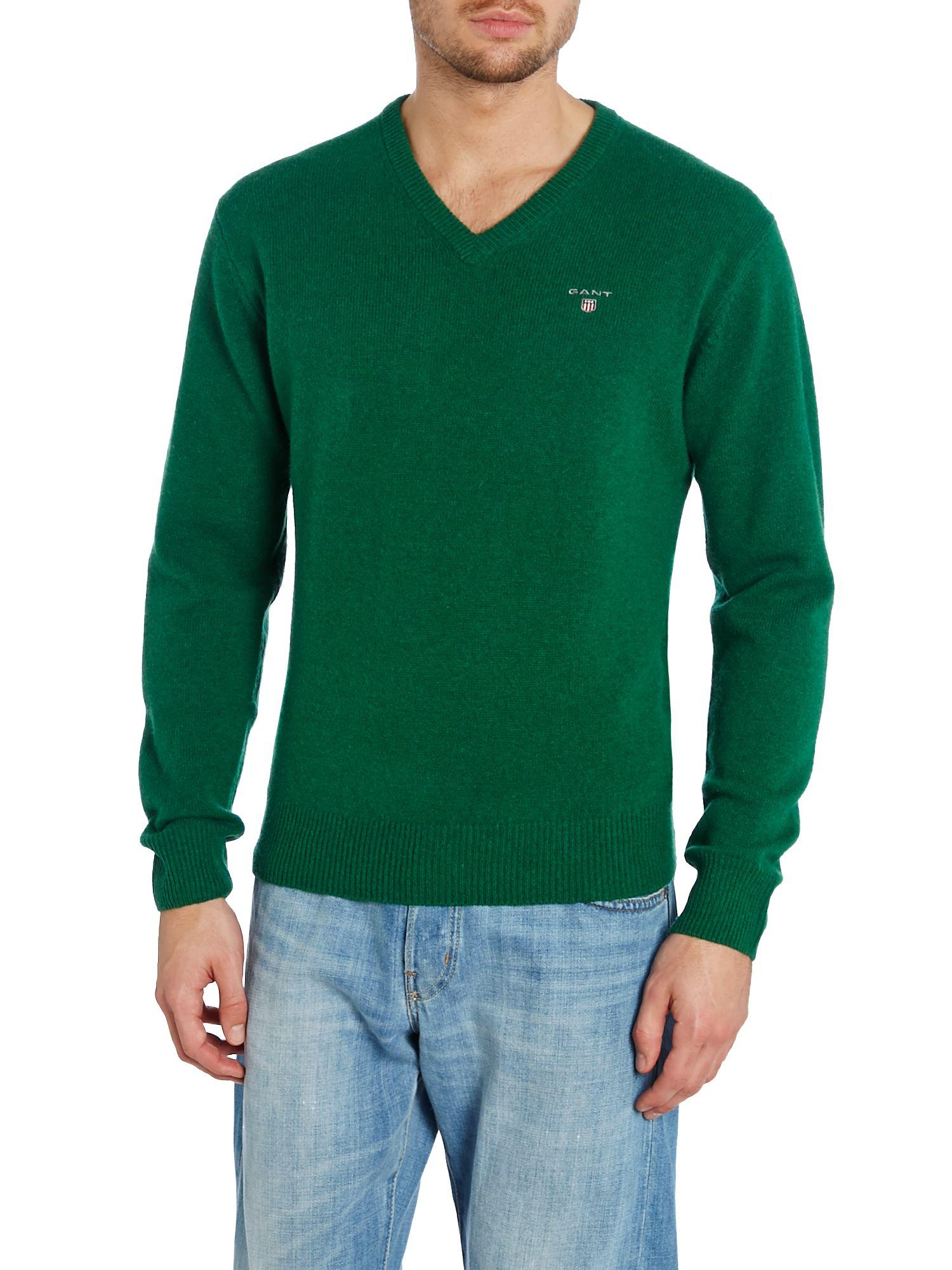 0ebce0a2a6f913 Neck Neck Neck Gant V Lyst Men Men Men Jumper In Solid Green Lambswool For  xITxwZqa