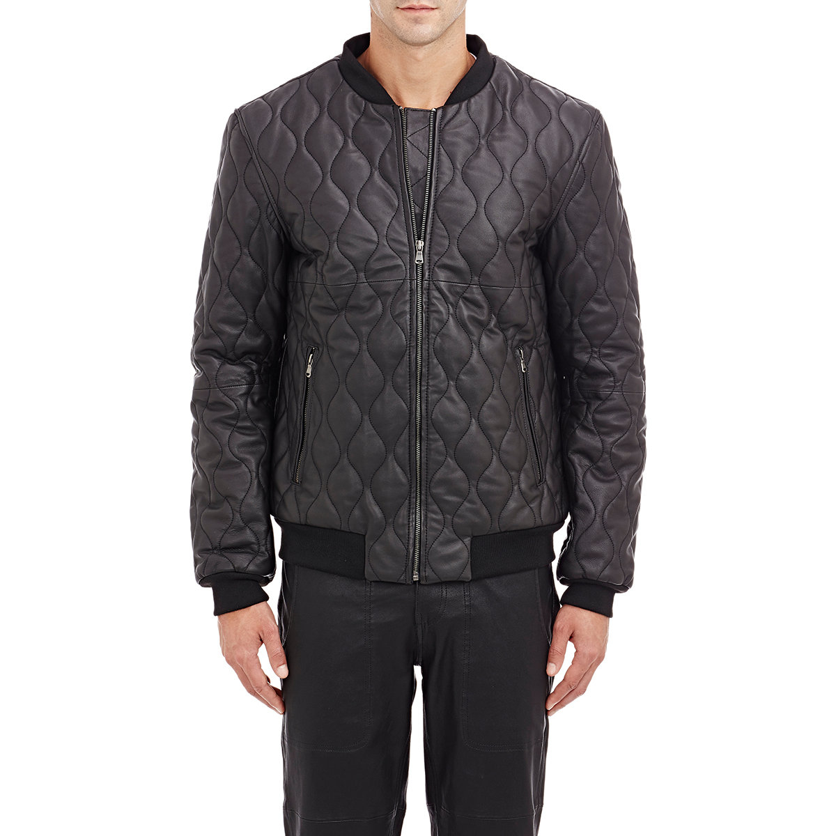 Lot78 Quilted Leather Bomber Jacket in Black for Men | Lyst