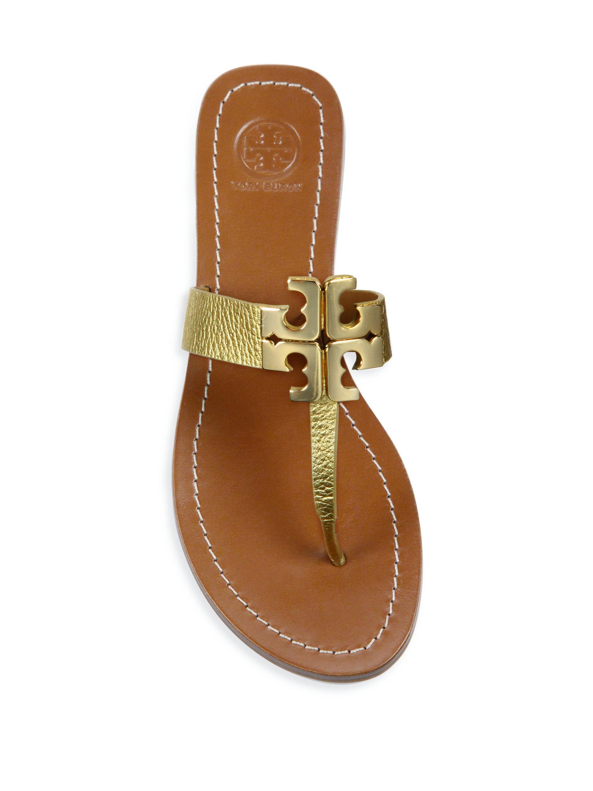 57b3dc57b ... where can i buy lyst tory burch moore ii metallic leather thong sandals  in metallic 7cde5