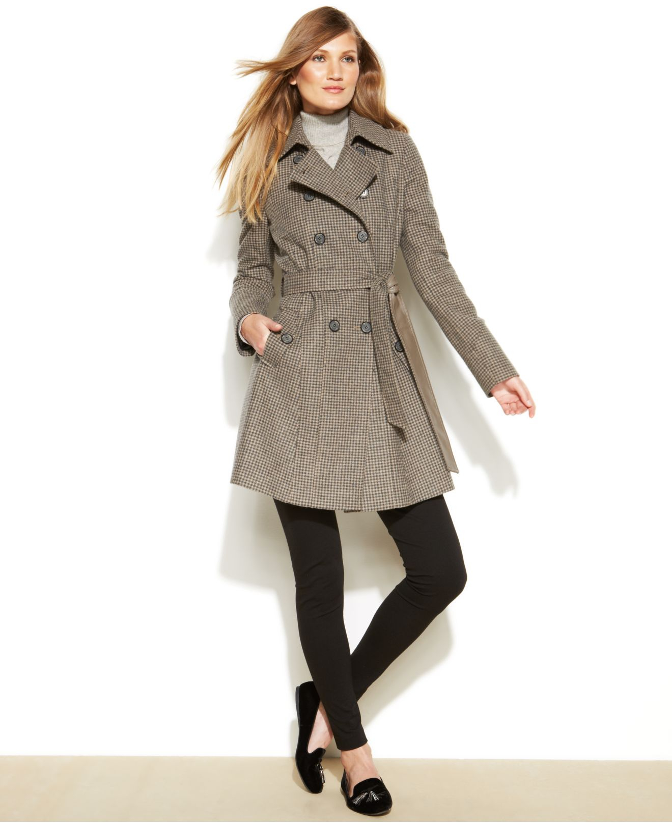 Dkny Petite Belted Wool-Blend Trench Coat in Brown | Lyst