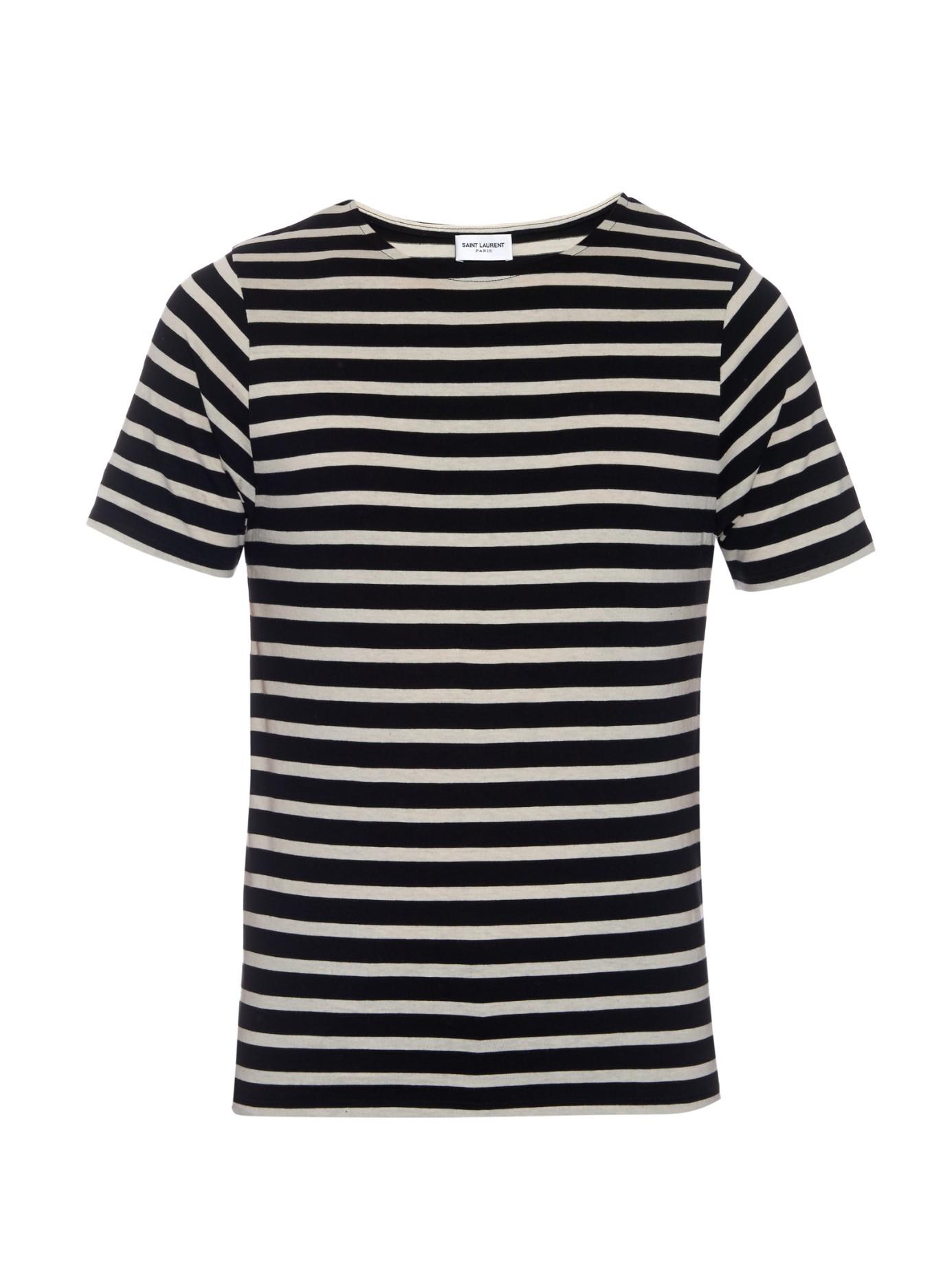 Saint laurent striped cotton jersey t shirt in black for for Saint laurent t shirt