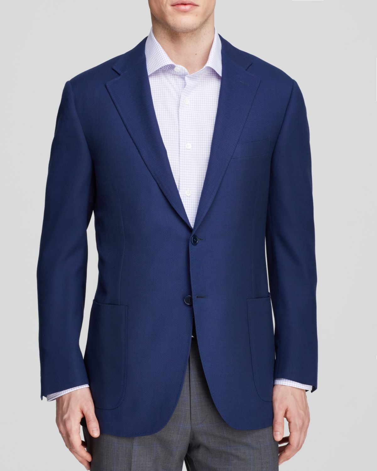 Canali Micro Dot Travel Sport Coat - Classic Fit in Blue for Men