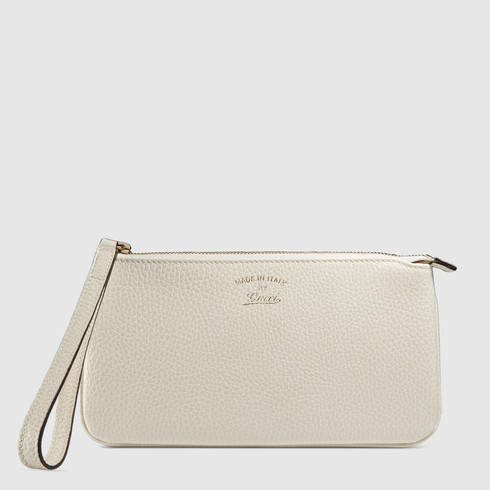 d518a51495a Lyst - Gucci Swing Leather Wristlet in White