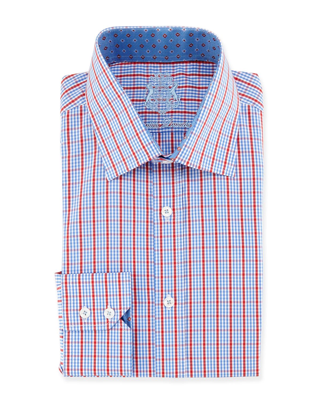 English Laundry Tattersall Check Woven Dress Shirt In Blue