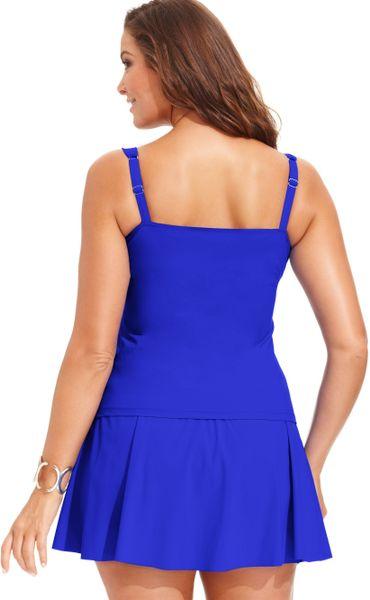 gottex plus size draped swim skirt in blue navy lyst