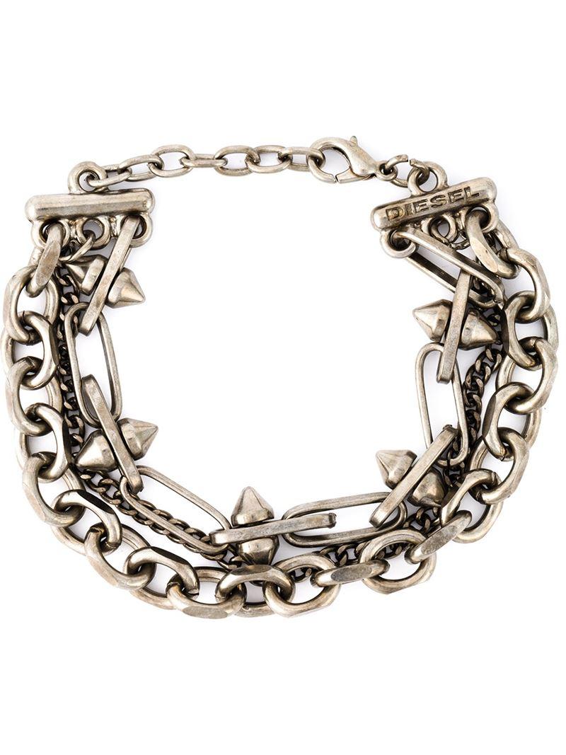 Diesel double chain wrapped bracelet - Metallic OAx3R