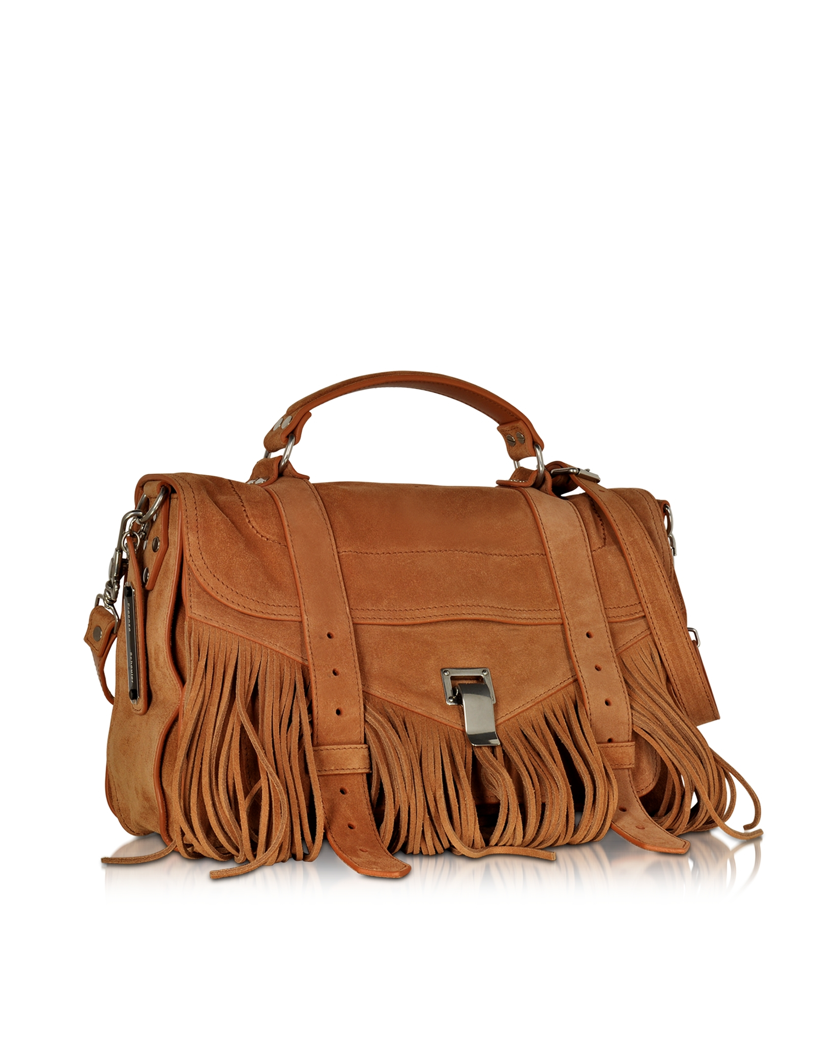 Proenza schouler Ps1 Fringe Medium Dune Suede Satchel Bag in ...