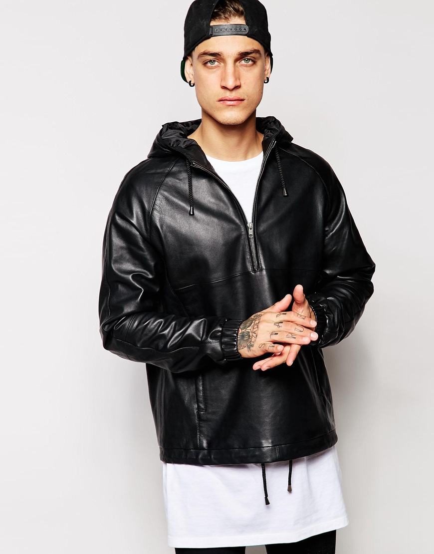 Lyst Asos Leather Hooded Pullover Jacket In Black For Men