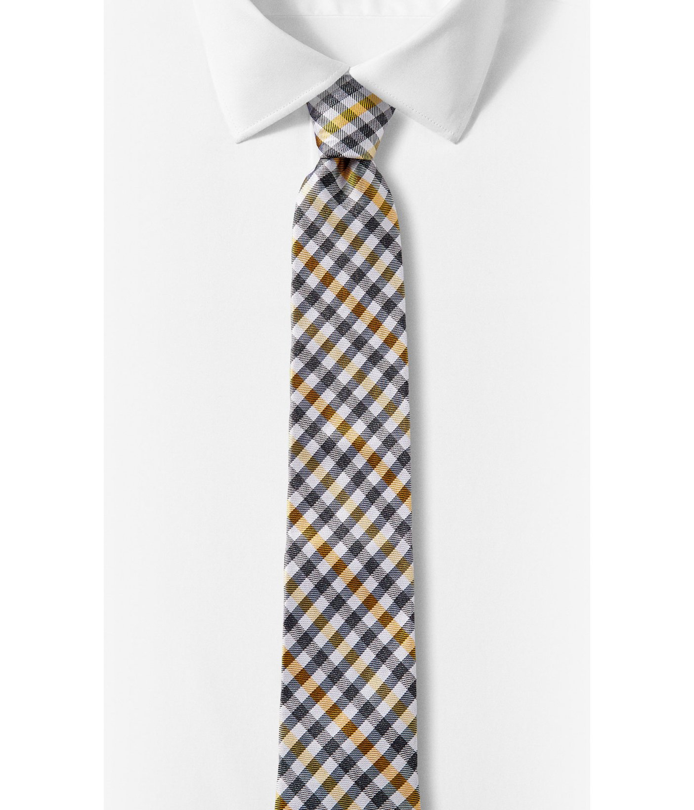 express multicolor check narrow silk blend tie in yellow