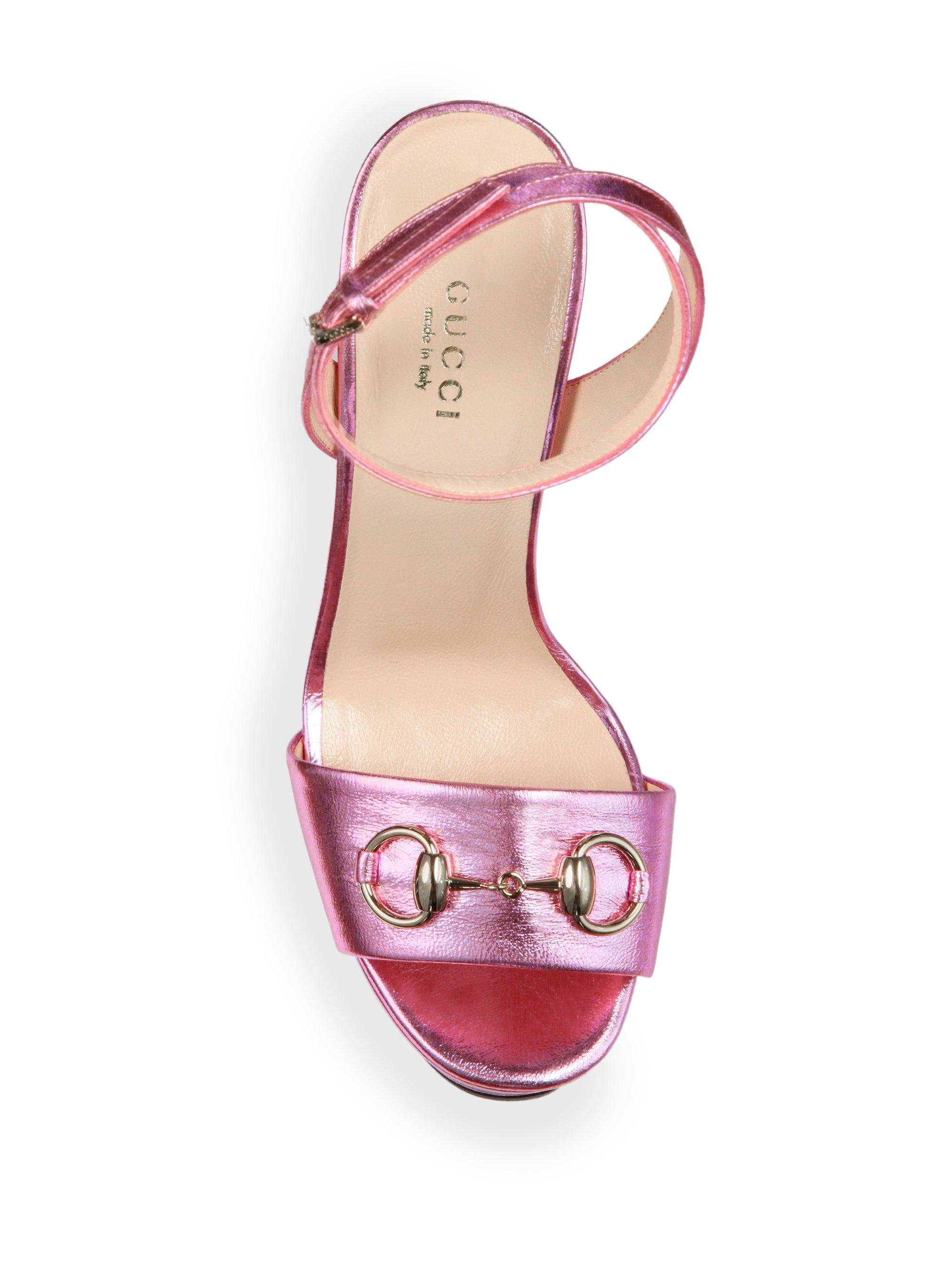 2984eef88bd Lyst - Gucci Leila Metallic Leather Platform Sandals in Pink