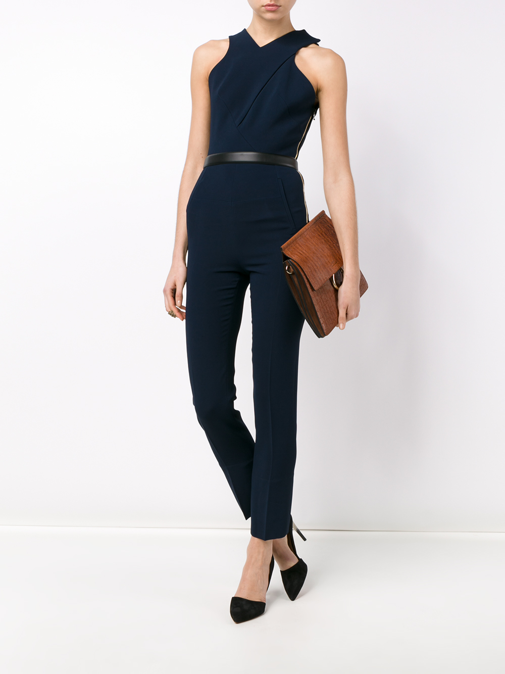 87ec7f1f73aa Lyst - Roland Mouret Crepe Saxby Jumpsuit in Blue