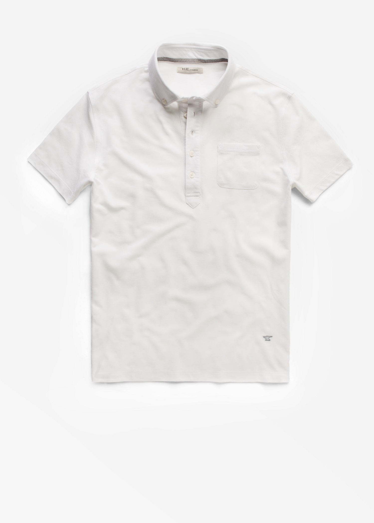 Mango Button Down Collar Polo Shirt In White For Men Lyst