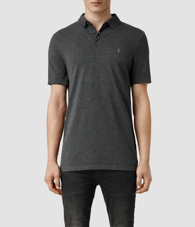 Allsaints Buckingham Polo Shirt In Gray For Men Lyst