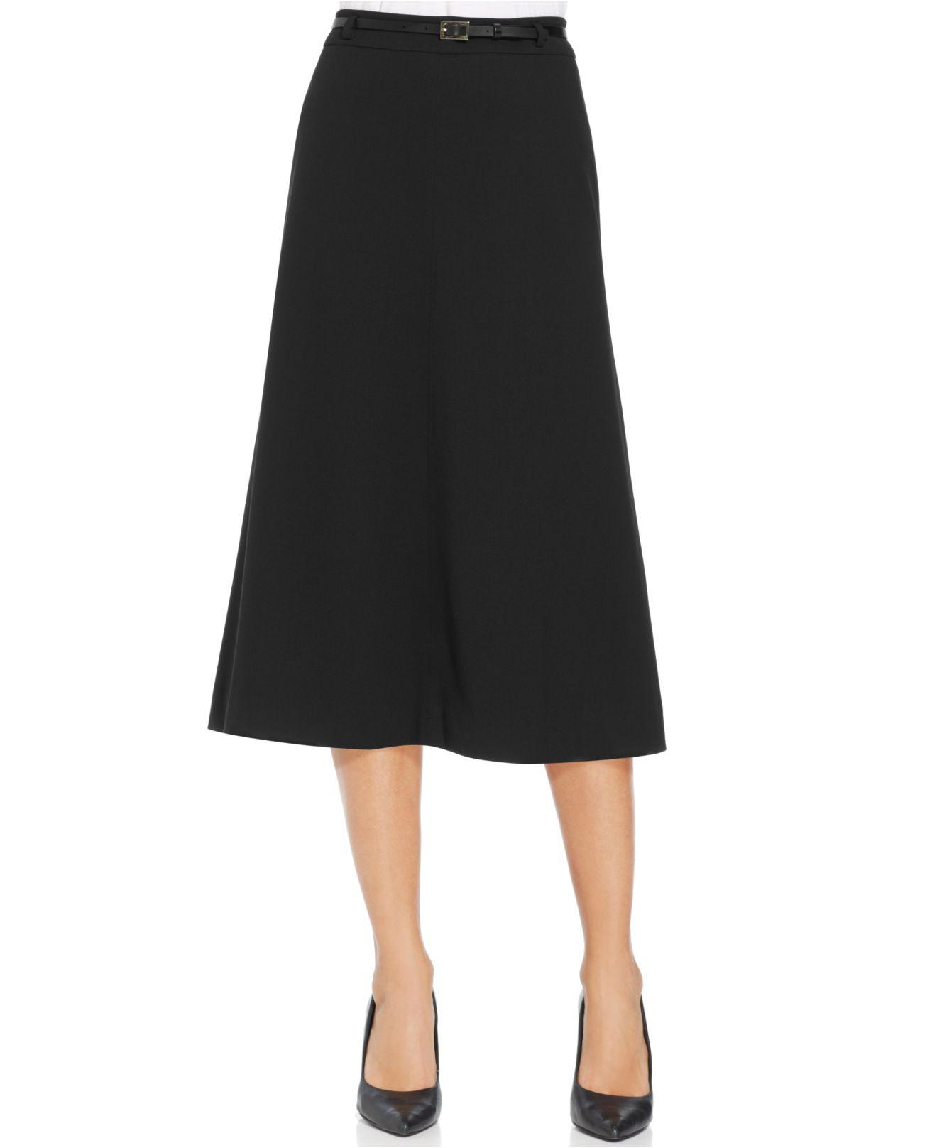 jones new york belted midi skirt in black lyst