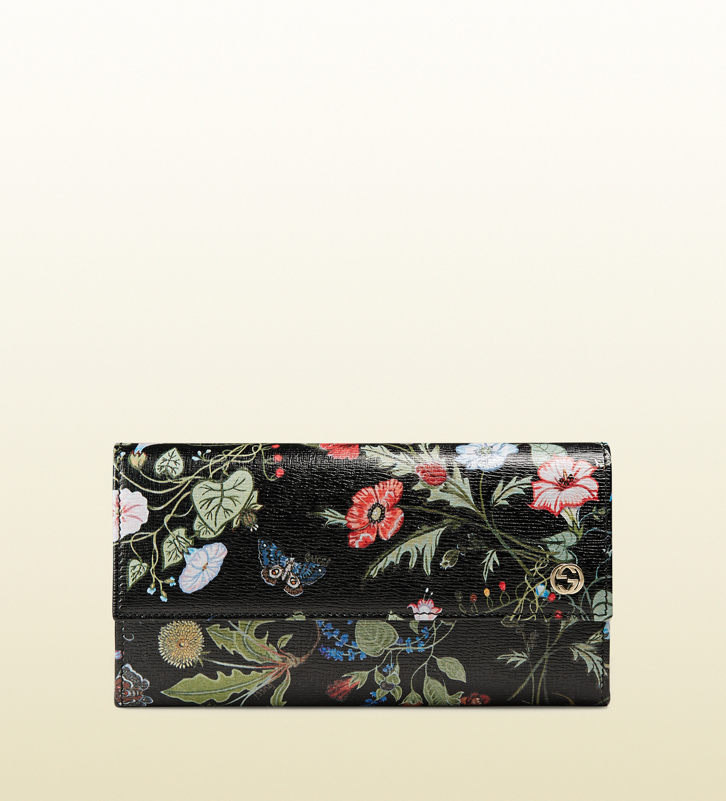 6d41e03c2a2 Gucci Flora Knight Print Leather Continental Wallet in Black for Men ...