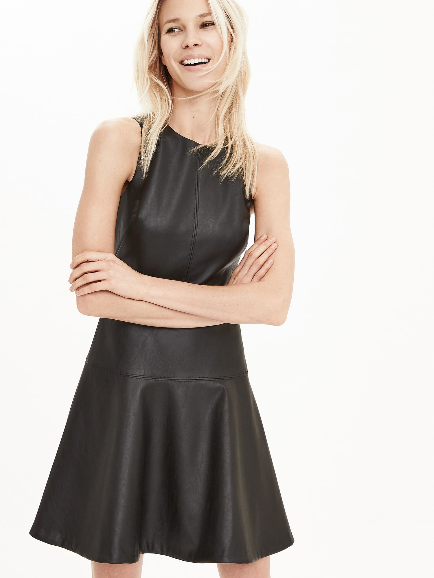 0324967779 Banana Republic Faux-leather Fit-and-flare Dress in Black - Lyst