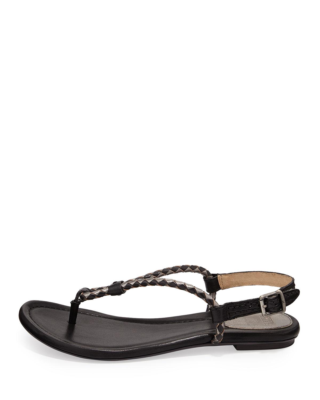 e23a01d4f0c0b Lyst - Frye Madison Braided Loop Thong Sandal Black Multi 11 in Black