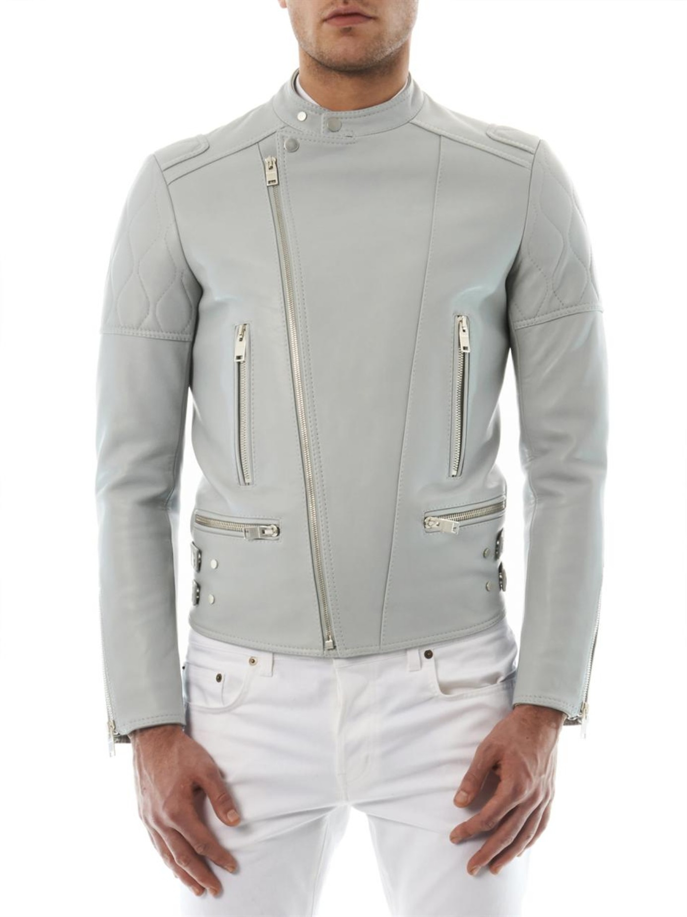 Balenciaga Leather Biker Jacket in Gray for Men | Lyst