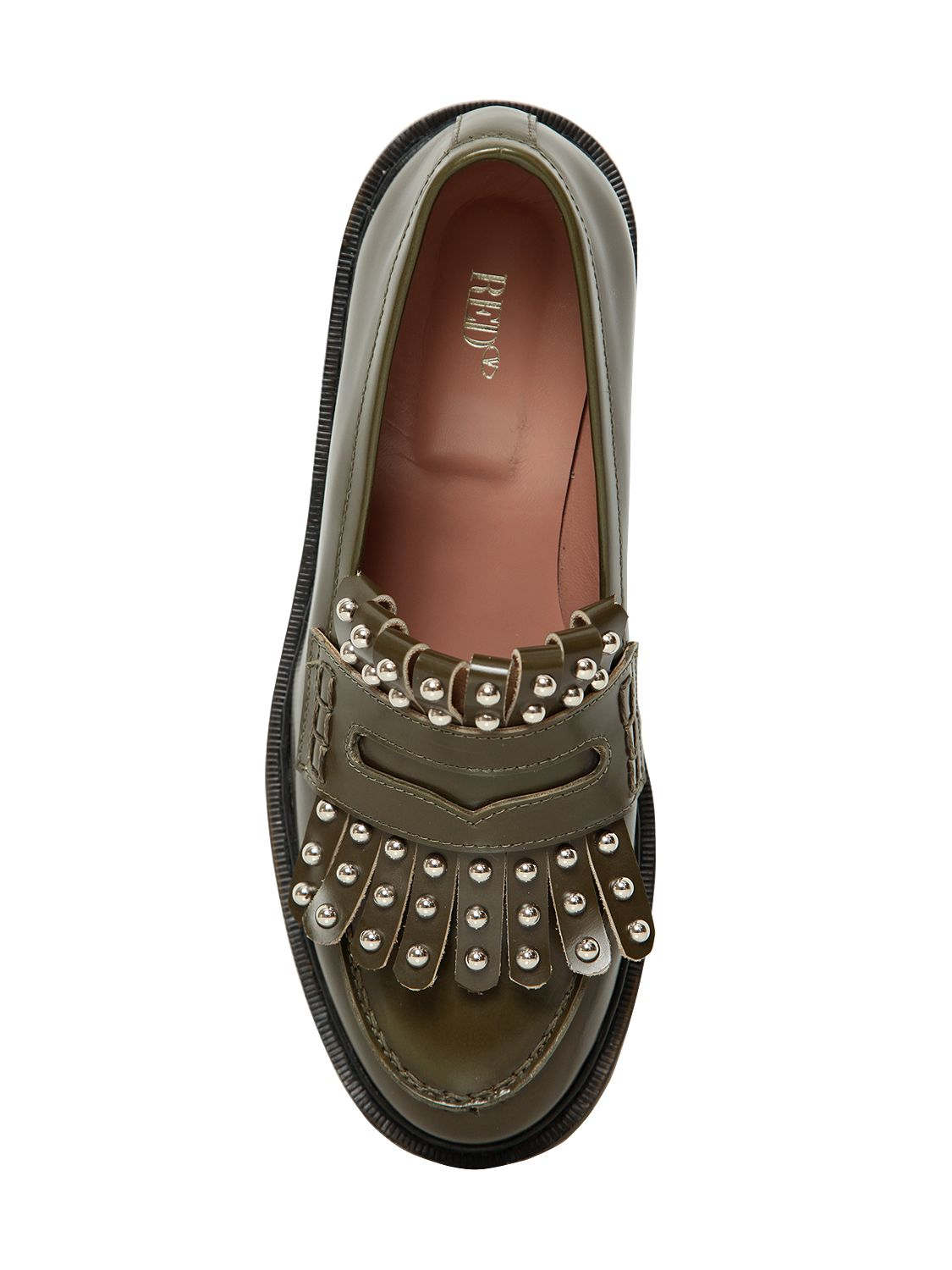 2bbac2d4a5d3 Lyst - RED Valentino 20mm Studded Fringed Leather Loafers in Natural