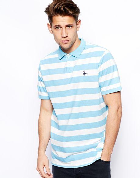 Blue Striped Polo Shirt Stripe Polo Shirt in Blue